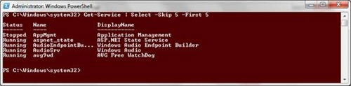 Select-Object -Skip 5 -First 5